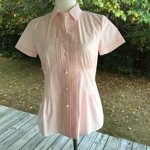 Theory Pink Button Down Short Sleeve Top Cotton